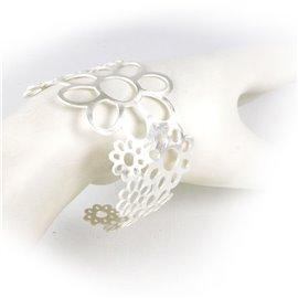 Manchette argent bracelet fantaisie fleurs RAS
