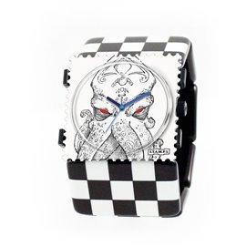 Bracelet élastique de montre Stamps belta black squares noir