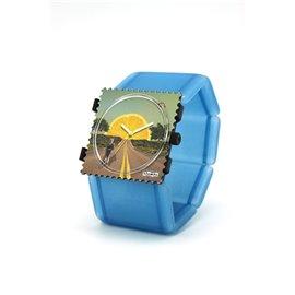 Montre Stamps bracelet de montre belta Stamps belta batik bleu élastique
