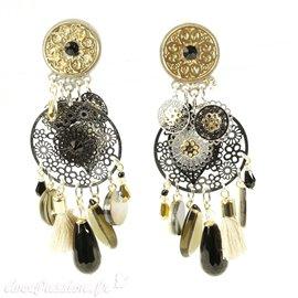 Boucles d'oreilles clips noir et argent Patchwork -