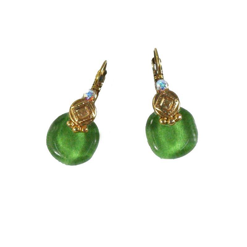 Boucles d'oreilles vert emeraude