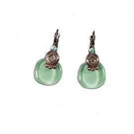 Boucles d'oreilles vert d'eau oreilles percées Nathalie Borderie