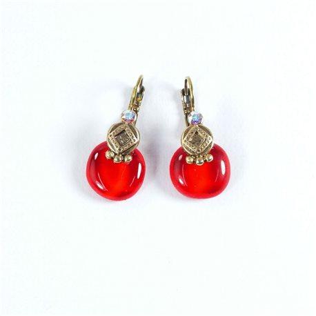 Boucles d'oreilles rouge oreilles percées Nathalie Borderie