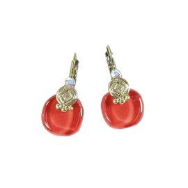 Boucles d'oreilles rouge cerise oreilles percées Nathalie Borderie