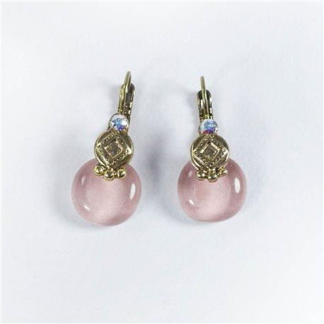 Boucles d'oreilles rose pale oreilles percées Nathalie Borderie