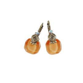 Boucles d'oreilles orange clair oreilles percées Nathalie Borderie