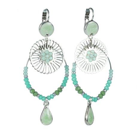 Boucles d'oreilles Statu Quo oreilles percées dormeuses vert menthe perles