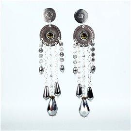 Boucles d'oreilles Statu Quo pendantes oreilles percées argent perle bronze