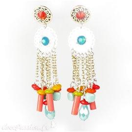 Boucles d'oreilles multicolores perles Patchwork oreilles percées