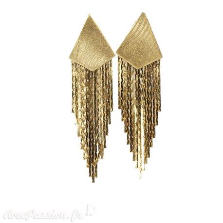 Boucles d'oreilles dorées Eneida oreilles percées