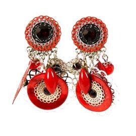 Boucles d'oreilles clips rouge Patchwork