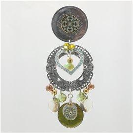 Boucles d'oreilles Chorange clips fantaisie vert -