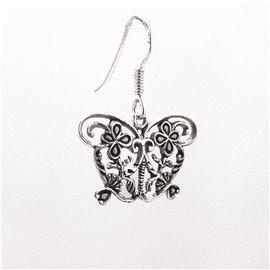 Boucles d'oreilles papillon ciselé en argent 925 oreilles percées