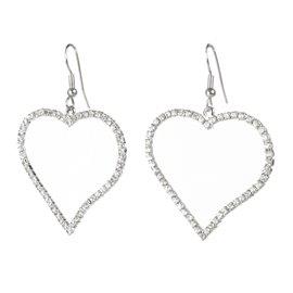 Boucles d'oreilles créoles en coeur en strass - -
