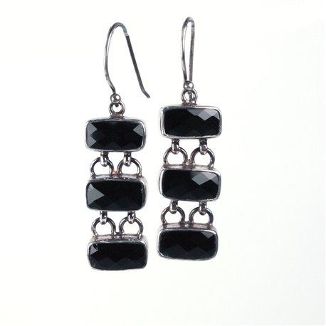 Boucles d'oreilles noires et en argent 925 bijou de créateur -