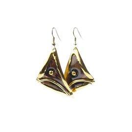 Boucles d'oreilles fantaisie doré bijou de créateur - -