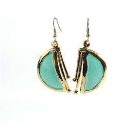 Boucles d'oreilles doré et tourquoise bijoux Austral -