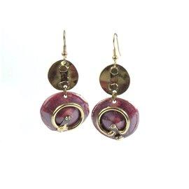 Boucles d'oreilles doré et rouge bijoux Austral -