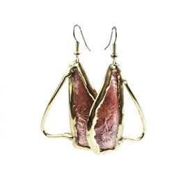 Boucles d'oreilles doré et rose bijoux Austral