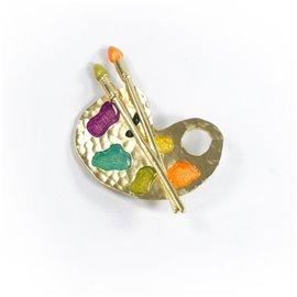 Broche Dolce Vita argentée palette de peintre