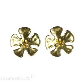 Boucles d'oreilles Cheny's oreilles percées fleurs dorées