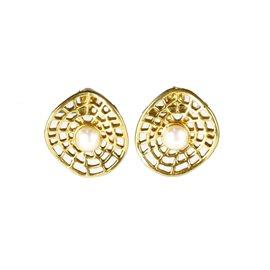 Boucles d'oreilles Cheny's oreilles percées ronds dorés dentelés avec perles