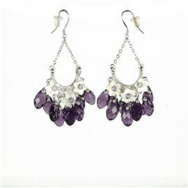 Boucles d'oreilles pendantes Cheny's oreilles percées perles violettes et fleurs nacrées