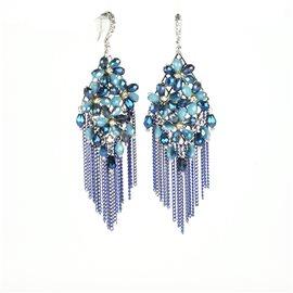 Boucles d'oreilles pendantes Cheny's oreilles percées perles rocailles fleurs bleues