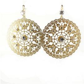 Boucles d'oreilles pendantes Cheny's oreilles percées estampes dorées papillions strass cristal