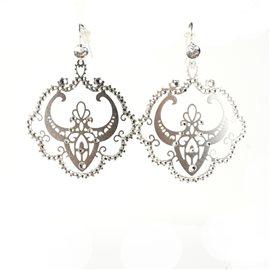 Boucles d'oreilles percées Cheny's estampes orientales argent strass
