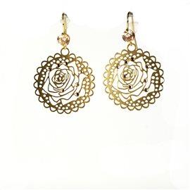 Boucles d'oreilles pendantes Cheny's oreilles percées estampes dorées fleur rose