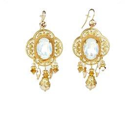 Boucles d'oreilles percées Cheny's estampes dorées perles rose