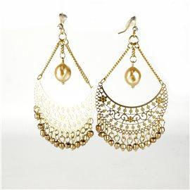 Boucles d'oreilles pendantes Cheny's oreilles percées estampes orientales dorées perle nacrée