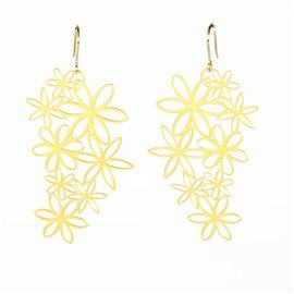 Boucles d'oreilles percées métal RAS doré fleurs marguerites