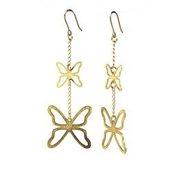 Boucles d'oreilles percées métal RAS doré papillons