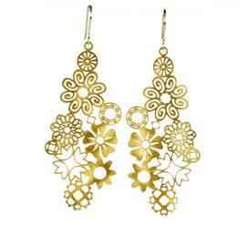 Boucles d'oreilles percées métal RAS doré fleurs