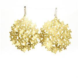 Boucles d'oreilles percées métal RAS doré grandes fleurs hortensia