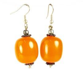 Boucles d'oreilles ethnique orange oreilles percées