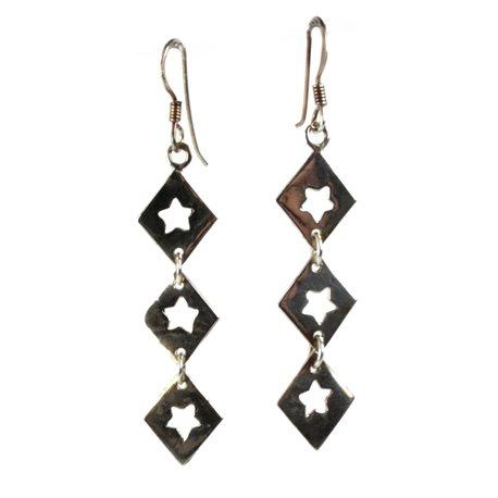 Boucles d'oreilles pendantes étoiles en argent 925 oreilles percées -
