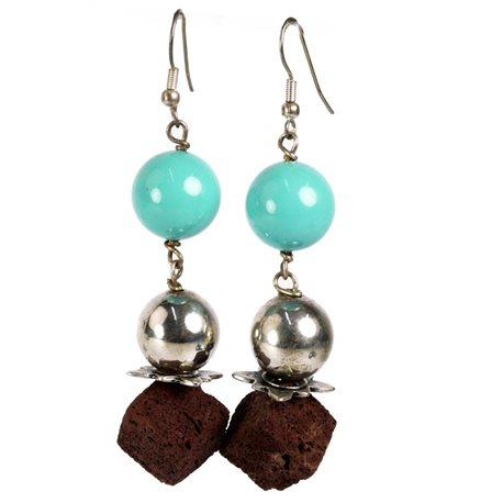 Boucles d'oreilles pendantes turquoiise argent marron Périgrine