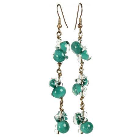 Boucles d'oreilles pendantes créateur Périgrine longue turquoise