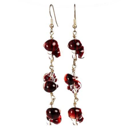 Boucles d'oreilles pendantes créateur Périgrine longue rouge