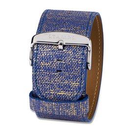 Bracelet de montre Stamps antique cuir bleu