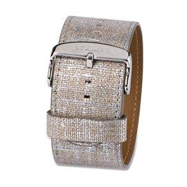 Bracelet de montre Stamps antique cuir argent