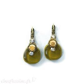 Boucles d'oreilles vert canard oreilles percées Nathalie Borderie