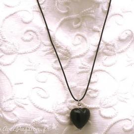Collier fantaisie Murano lien noir 50cm coeur noir opaque