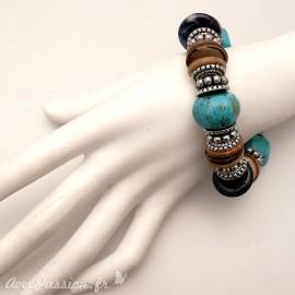 Bracelet fantaisie ethnique turquoise marron