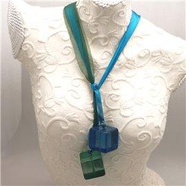 Collier long fantaisie ruban organza bleu vert cube bleu vert