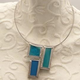 Collier ras de cou Argent vitrail bleu turquoise