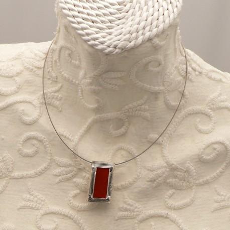 collier-fantaisie-ras-de-cou-rectangle-en-argent-vitrail-rouge-bijou-createur-ref-u0515